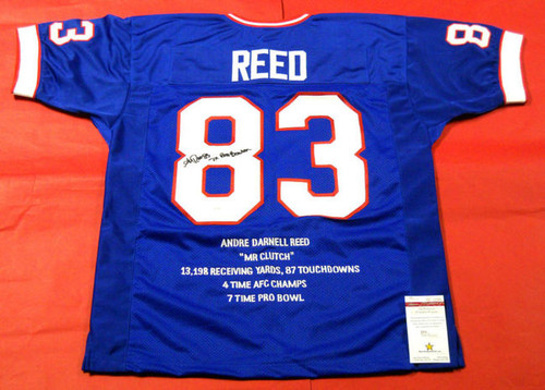 ANDRE REED AUTOGRAPHED BUFFALO BILLS STAT JERSEY 2 INSCRIPTIONS JSA HOF 2014
