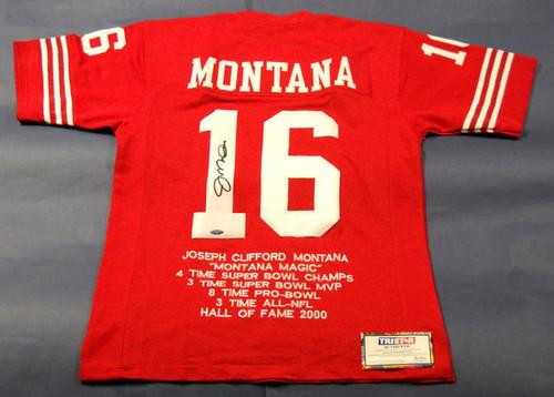 JOE MONTANA AUTOGRAPHED SAN FRANCISCO 49ERS STAT JERSEY TRISTAR LAST ONE