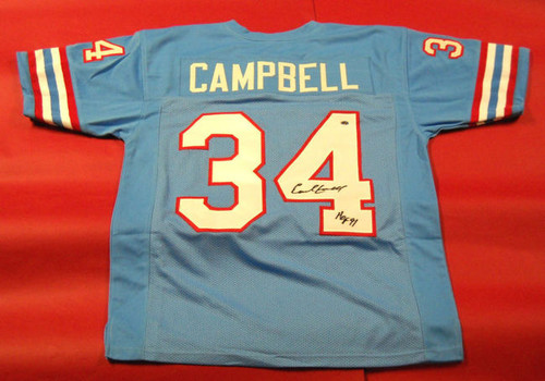EARL CAMPBELL AUTOGRAPHED HOUSTON OILERS JERSEY AASH HOF 91 INSC