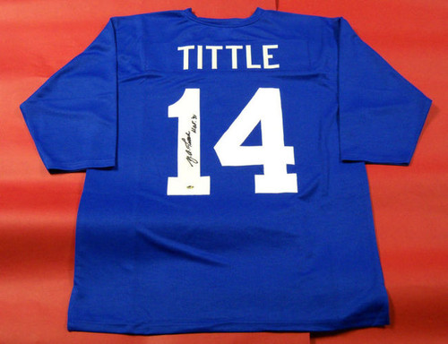 Y A TITTLE AUTOGRAPHED NEW YORK GIANTS JERSEY HOF 71 INSC AASH