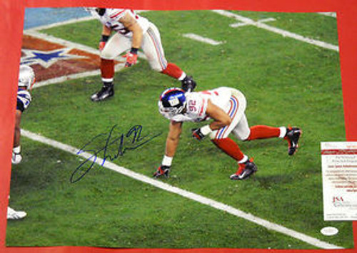 MICHAEL STRAHAN AUTOGRAPHED NEW YORK GIANTS 16X20 PHOTO JSA SUPER BOWL XLII