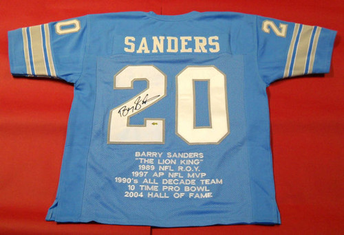 BARRY SANDERS AUTOGRAPHED DETROIT LIONS THROWBACK STAT JERSEY