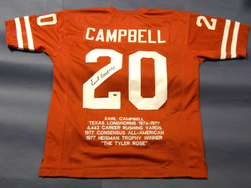 EARL CAMPBELL AUTOGRAPHED TEXAS LONGHORNS STAT JERSEY