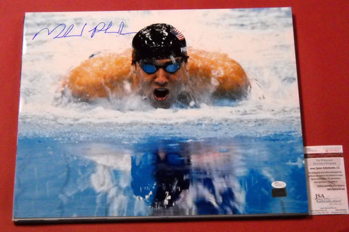 MICHAEL PHELPS AUTOGRAPHED 16X20 USA OLYMPIC SWIMMING JSA 18 GOLD MEDALS FVB
