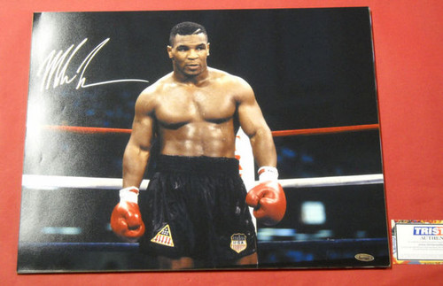 MIKE TYSON RARE AUTOGRAPHED 16X20 PHOTO TRISTAR BOXING IRON MIKE