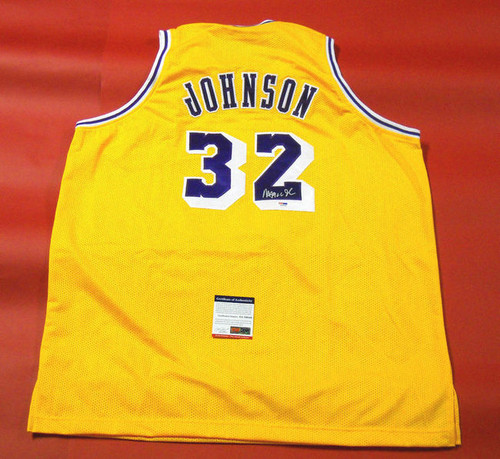 MAGIC JOHNSON AUTOGRAPHED LOS ANGELES LAKERS JERSEY PSA/DNA HOF 02 INSC