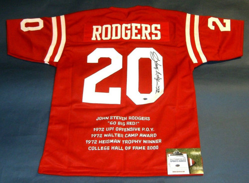 JOHNNY RODGERS AUTOGRAPHED NEBRASKA STAT JERSEY HEISMAN 72 AASH READ NOTE