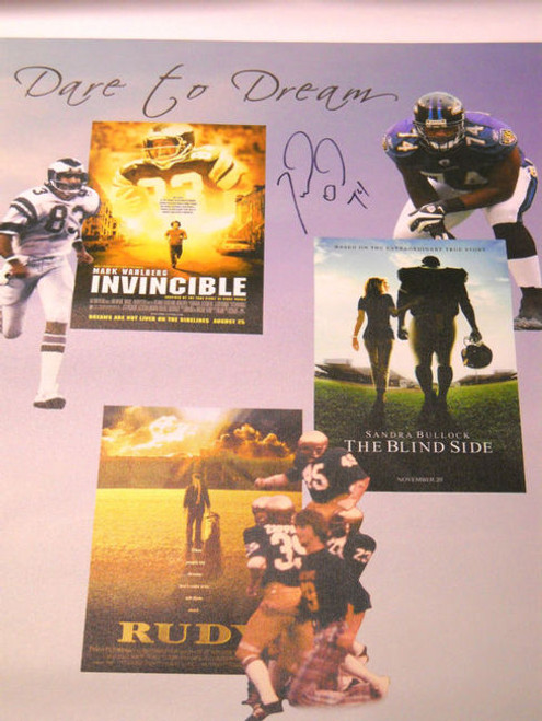 THE BLIND SIDE INVINCIBLE RUDY MICHAEL OHER AUTOGRAPHED 28X38 CANVAS RAVENS