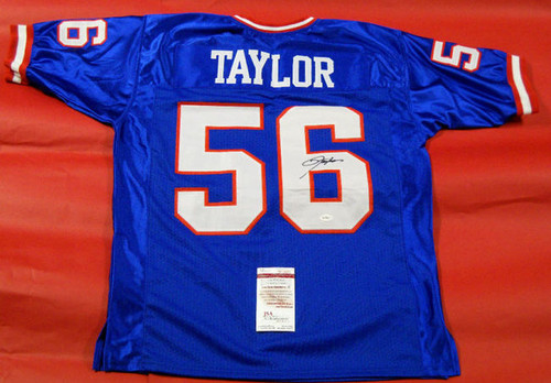LAWRENCE TAYLOR AUTOGRAPHED NEW YORK GIANTS BLUE JERSEY LT JSA LAST ONE