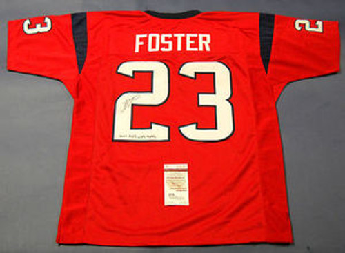 eb3224551 ARIAN FOSTER AUTOGRAPHED HOUSTON TEXANS RED JERSEY JSA DON T MESS W TEXAS  INSC ...