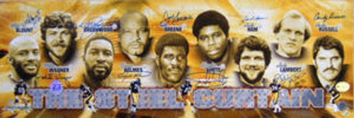 PITTSBURGH STEELERS SIGNED STEEL CURTAIN 12X36 PANORAMIC 9 AUTOS GREENE LAMBERT