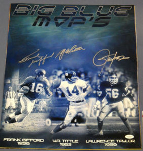 LAWRENCE TAYLOR FRANK GIFFORD YA TITTLE AUTOGRAPHED NEW YORK GIANTS 16X20 JSA