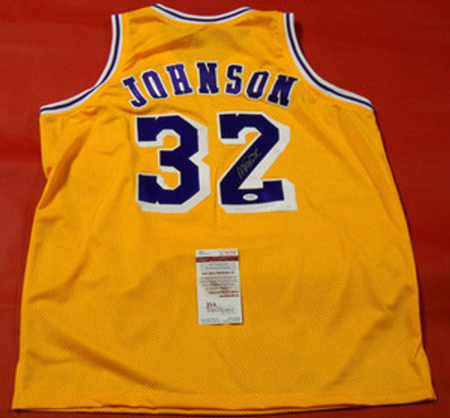 MAGIC JOHNSON AUTOGRAPHED LOS ANGELES LAKERS JERSEY JSA  LAST ONE