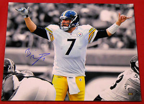 BEN ROETHLISBERGER AUTOGRAPHED PITTSBURGH STEELERS 16X20 PHOTO MM SEPIA FILTERED