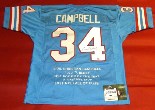 EARL CAMPBELL AUTOGRAPHED HOUSTON OILERS STAT JERSEY AASH