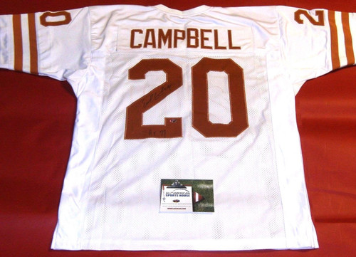 EARL CAMPBELL AUTOGRAPHED TEXAS LONGHORNS JERSEY AASH HEISMAN