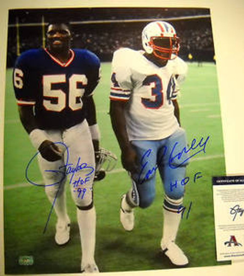 EARL CAMPBELL LAWRENCE TAYLOR HOF AUTOGRAPHED 16X20 PHOTO AASH LT HALL OF FAMERS