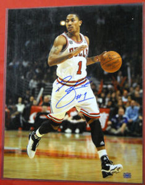 DERRICK ROSE AUTOGRAPHED CHICAGO BULLS 16X20 PHOTO AASH W