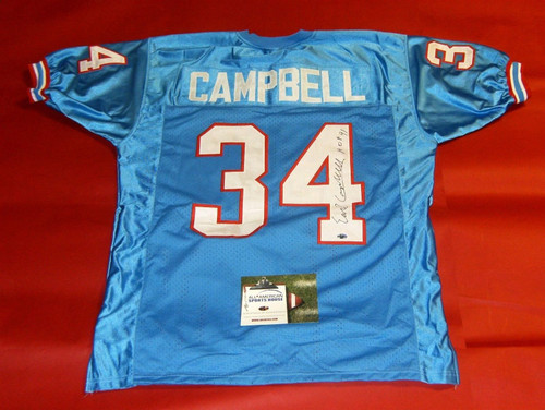EARL CAMPBELL AUTOGRAPHED HOUSTON OILERS JERSEY AASH HOF 91