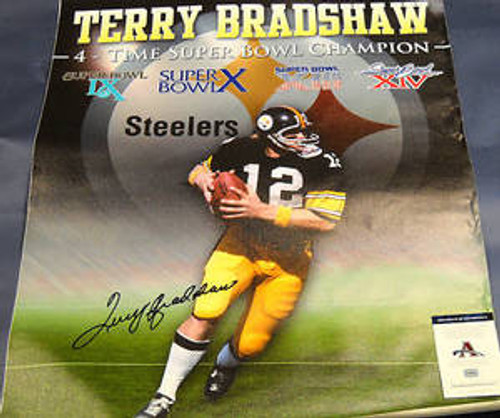 TERRY BRADSHAW PITTSBURGH STEELERS AUTOGRAPHED 32X40 CANVAS AASH