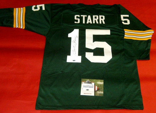 BART STARR AUTOGRAPHED GREEN BAY PACKERS 3/4 SLEEVE JERSEY AASH