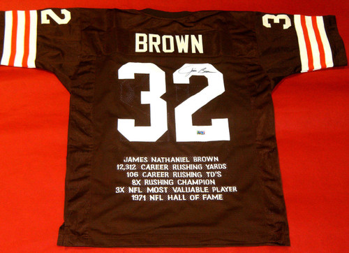 JIM BROWN AUTOGRAPHED CLEVELAND BROWNS STAT JERSEY GRANDSTAND SPORTS