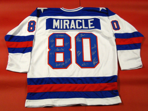 MIRACLE ON ICE 1980 USA HOCKEY JERSEY AUTOGRAPHED BY 15 CRAIG ERUZIONE OLYMPICS
