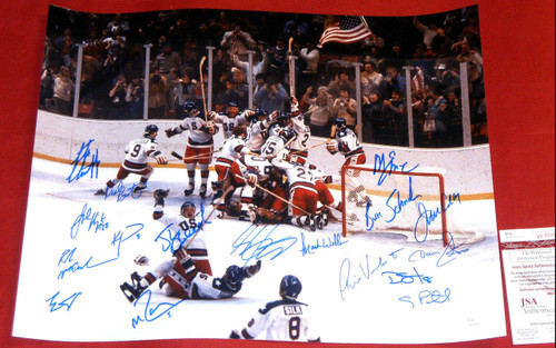 MIRACLE ON ICE 1980 USA HOCKEY AUTOGRAPHED 16X20 PHOTO CRAIG ERUZIONE OLYMPIC JS