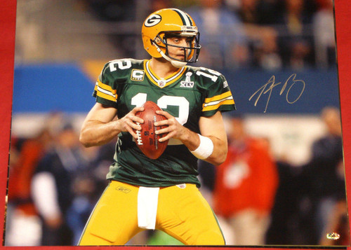 AARON RODGERS GREEN BAY PACKERS AUTOGRAPHED 16X20 PHOTO AASH SUPER BOWL XLV PASS