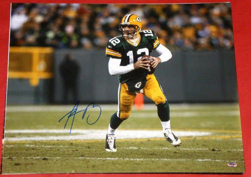 AARON RODGERS GREEN BAY PACKERS AUTOGRAPHED 16X20 PHOTO AASH SCRAMBLING