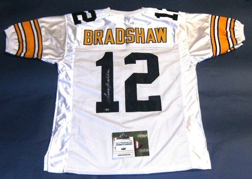 TERRY BRADSHAW AUTOGRAPHED PITTSBURGH STEELERS W JERSEY AASH LAST ONE