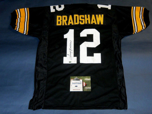 TERRY BRADSHAW AUTOGRAPHED PITTSBURGH STEELERS JERSEY AASH