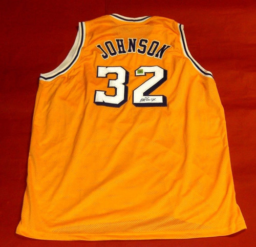 MAGIC JOHNSON AUTOGRAPHED LOS ANGELES LAKERS JERSEY SSGH