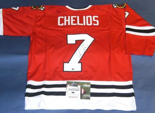 CHRIS CHELIOS AUTOGRAPHED CHICAGO BLACKHAWKS JERSEY AASH