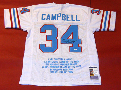 EARL CAMPBELL AUTOGRAPHED HOUSTON OILERS STAT W JERSEY JSA