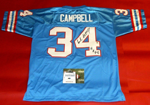 EARL CAMPBELL AUTOGRAPHED HOUSTON OILERS JERSEY AASH HOF 91 NT