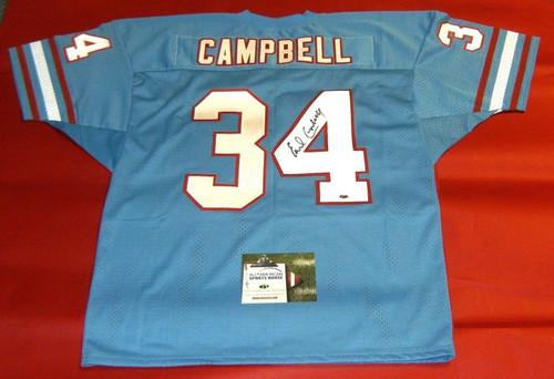 EARL CAMPBELL AUTOGRAPHED HOUSTON OILERS JERSEY AASH MESH READ NOTE