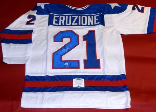 MIKE ERUZIONE AUTOGRAPHED MIRACLE ON ICE 1980 USA HOCKEY JERSEY OLYMPICS BECKETT