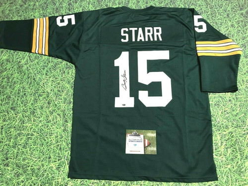 BART STARR AUTOGRAPHED GREEN BAY PACKERS 3/4 SLEEVE JERSEY AASH 2