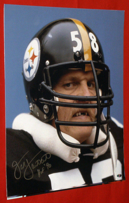JACK LAMBERT AUTOGRAPHED PITTSBURGH STEELERS 16X20 PHOTO AASH HOF 90