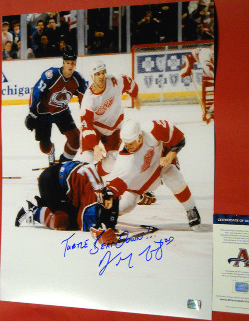 DARREN McCARTY SIGNED 16X20 CLAUDE LEMIEUX FIGHT PHOTO RED WINGS TURTLE BEATDOWN