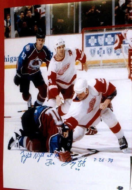 DARREN McCARTY SIGNED 16X20 LEMIEUX FIGHT PHOTO DETROIT RED WINGS FIGHT AASH