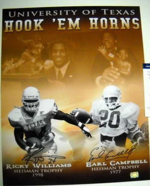 EARL CAMPBELL RICKY WILLIAMS AUTOGRAPHED TEXAS LONGHORNS 16X20 PHOTO AASH UT