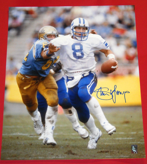 STEVE YOUNG AUTOGRAPHED BRIGHAM YOUNG COUGARS 16X20 PHOTO HOLOGRAM BYU