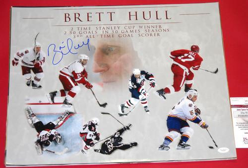 BRETT HULL AUTOGRAPHED 16X20 COLLAGE PHOTO DETROIT RED WINGS JSA STARS BLUES USA