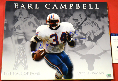 EARL CAMPBELL AUTOGRAPHED HOUSTON OILERS TEXAS LONGHORNS COLLAGE 16X20 PHOTO AASH