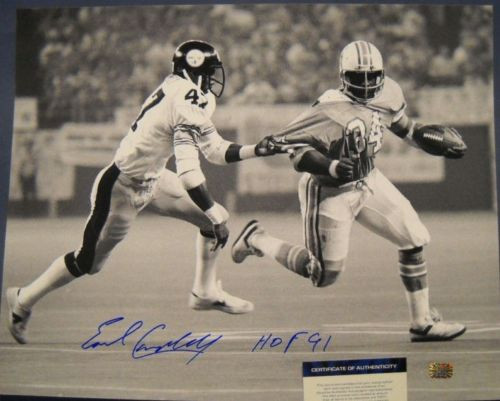 EARL CAMPBELL AUTOGRAPHED B&W 16X20 PHOTO W/ BLOUNT HOF 91 AASH LAST ONE