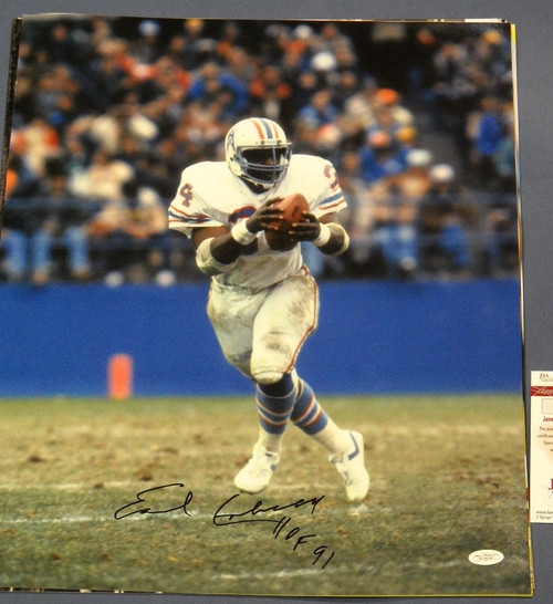 EARL CAMPBELL AUTOGRAPHED HOUSTON OILERS 16X20 PHOTO JSA