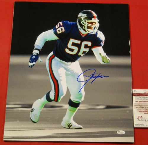 LAWRENCE TAYLOR AUTOGRAPHED NEW YORK GIANTS 16X20 FILTERED SEPIA PHOTO JSA