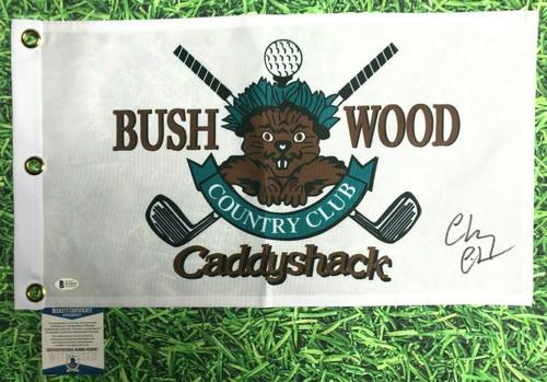 CHEVY CHASE AUTOGRAPHED BUSHWOOD CC CADDYSHACK MOVIE GOLF FLAG BECKETT BAS